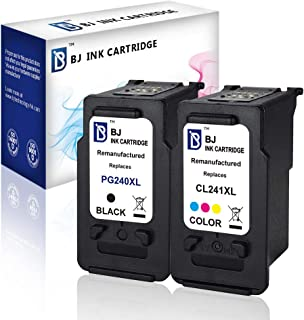 BJ Remanufactured Ink Cartridge Replacement for Canon PG 240XL CL 241XL Combo Pack for Canon PIXMA MG3620 MG3520 MX532 MG2120 MG3120 MG3122 MG3220 MX372 MX432 MX512(1 Black, 1 Color)