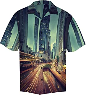 Men's Loose Summer Tie Dye Denim Chevron Short Sleeve Button Front Summer Printed Shirt for Men