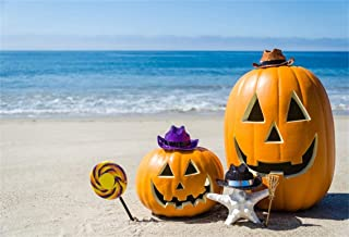 Leyiyi 10x6.5ft Seaside Halloween Holiday Backdrop Sunny Tropical Beach Autumn Pumpkin Lantern Witch Hat Starfish Lollipop Photography Background Costume Carnival Photo Studio Prop Vinyl Wallpaper