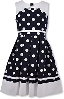 Bonnie Jean Girl's Nautical Dress Polka Dot Navy Blue Sailor Outfit