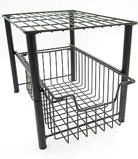 2 Tier Stackable Storage Rack Under Sink Cabinet Caddy Organizer with Sliding Storage Drawer for Kitchen Bathroom Office (...