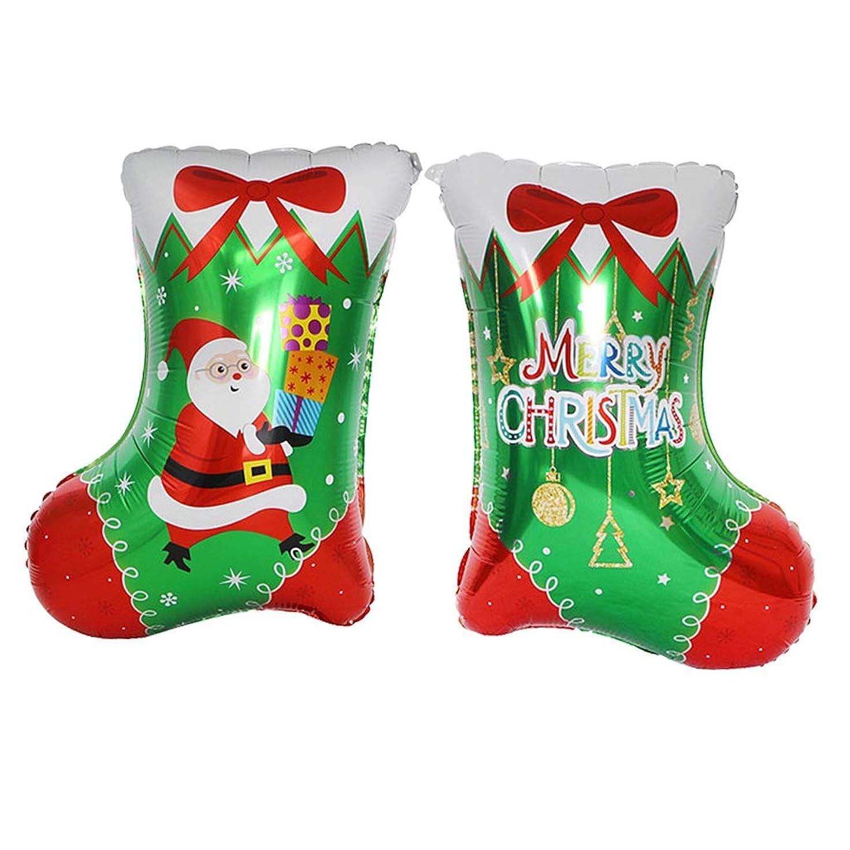 利用可能突撃豪華な6個 バルーン クリスマス アルミバルーン ストッキング パーティー 装飾 2タイプ選べ - サンタ