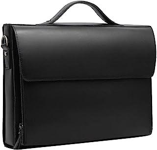 Leathario Herren Echtleder Aktentasche Ledertasche Laptoptasche für Business Vintage Schwarz
