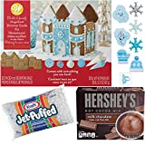 Gingerbread House Kit | Hershey's Hot Cocoa Mix | Mini Marshmallows | Winter and Frozen Themed Rings Set for Kids | Family Night Christmas Craft Kit