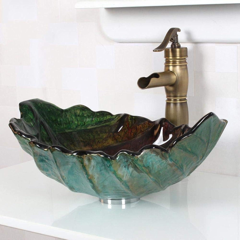 SEEKSUNG Waschbecken Retro Leaf Form gehrtetes Zeitgenssische Badezimmer Spüle aus Glas Set