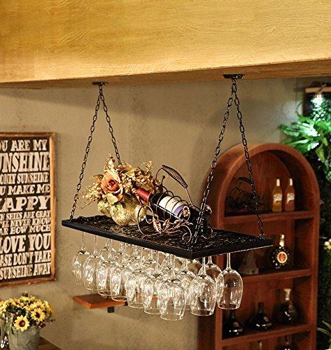Wall Shelves - Porte-gobelet Suspendu en Fer forgé européen Porte-Bouteilles de vin inversé Porte-gobelet en Verre Porte-gobelet Home Decor Storage Racks (Couleur : Noir, Taille : 100x31cm)