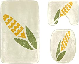 Green and Yellow Ripe Corn Vegetables Bathroom Rug Mats Set 3-Piece,Soft Shower Bath Rugs,Contour Mat and Toilet Seat Lid ...