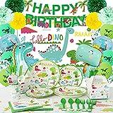 Accesorios de fiesta de cumpleaños de dinosaurio (para 16 personas), accesorios de fiesta todo en uno, decoración con palos, tazas, cucharas, tenedores, servilletas, globos, fondo, mantel, candly Box