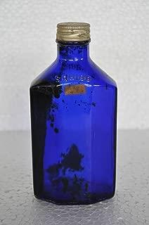 Indian Handicrafts Export Vintage Squibb Brand Unique Shape Blue Glass Bottle, USA