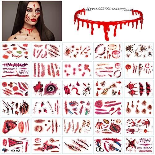 LANMOK Halloween Tatuaggi temporanei 30pcs Tatuaggi cicatrice ferita con collana di sangue Adesivi zombie vampiro Accessori per trucco Costume da festa horror Cosplay