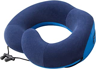 GUOZHEN Chin Supporting Travel Pillow, Memory Foam Neck Pillow for Airplane Flight Car Office Home,Cover Washable Adjustable (Navy)