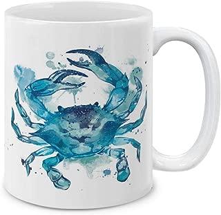 MUGBREW Blue Crab White Ceramic Coffee Mug Tea Cup, 11 OZ