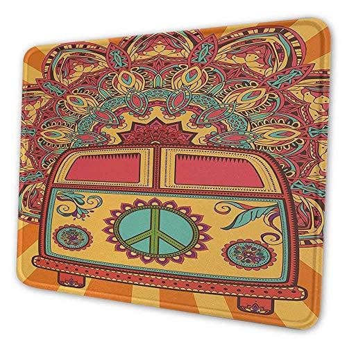 Fiesta de los 70 alfombrilla de ratón personalizada hippie vintage mini van fondo ornamental con el signo de la paz ilustraciones alfombrilla de ratón para hombres divertido coral naranja turquesa
