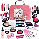Washable Kids Makeup Girl Toys - Non Toxic Real Kids Makeup Kit for Girls Nature Make Up Set for Child Toddler Children Princess Christmas Birthday Gifts Present for 4 5 6 7 8 9 10 Year Old Girls Gift