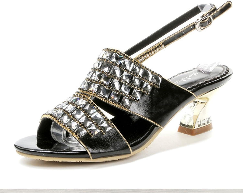 HIGHXE Sommer europische und amerikanische Damenschuhe mit Strass Damen Sandalen mit Diamanten Wilde Sandalen Frauen