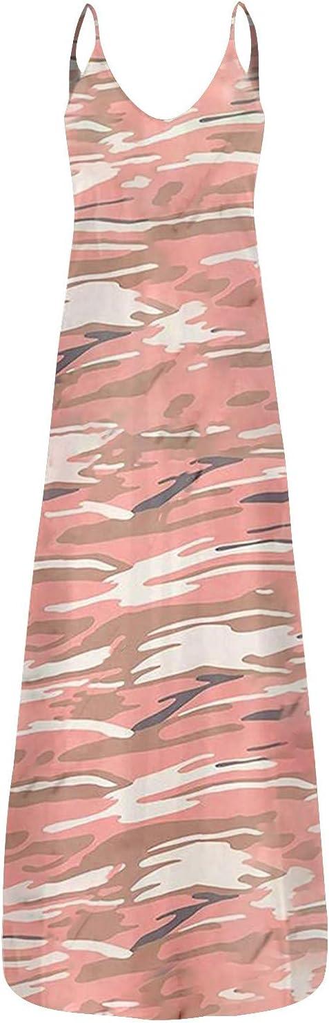 ZIPSAK Women Casual Gifts Maxi Dress Leopard Sleevel Camo Max 61% OFF Print Neck V