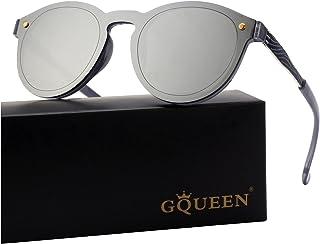 534721a584 GQUEEN Futurista Sin Marco Redondas Gafas de Sol Protector Reflexivo Espejo  Anteojos para Hombre Mujer MEO5