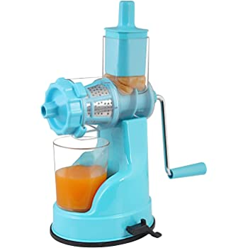 LIOMES Hand Juicer for All Types of Modern Fruit & Vegetable with Steel Handle Vacuum Locking System,Shake, Smoothies, Travel Juicer for All Fruits and Vegetable (Sky Blue)