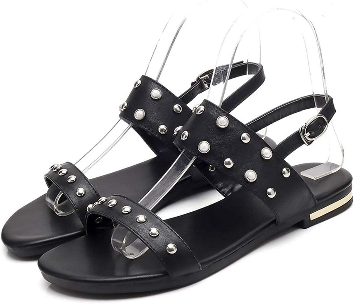 2018 Fashion shoes Woman Plus Size 32-46 Casual Sandals Women Genuine Leather shoes Buckle Flat with Rivet