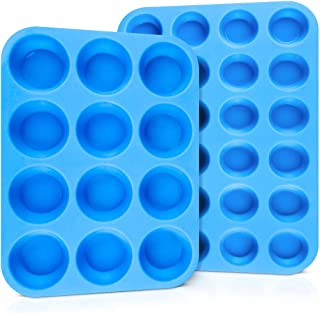 Silicone Muffin Pan Cupcake Pan - Mini 24 Cups and Regular 12 Cups Muffin Tin, Nonstick Surface for Baking Egg Muffin, Fat Bombs, Cupcake, Brioche, Pudding, BPA Free 2 Pack