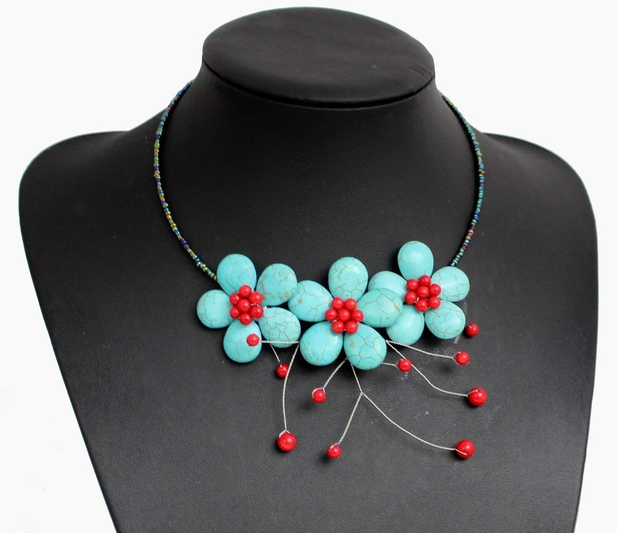 Hand-Woven Trust Blue Turquoise Stone Brand Cheap Sale Venue Beaded Beads Neckla Coral Flower