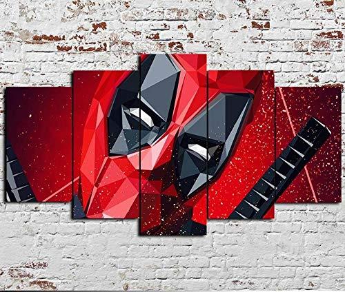 MTRSLH Vlies Leinwanddrucke 5 Teilig Kunstdruck Leinwand Bild Deadpool Marvel,XXL Format Wandbilder Wohnzimmer Wohnung Gerahmter Deko Geschenk 150X80Cm