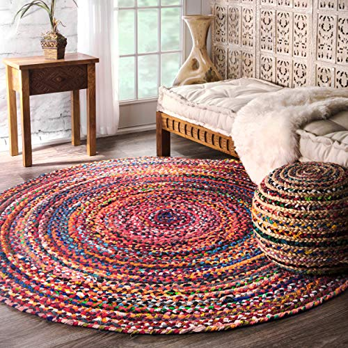 nuLOOM Hand Braided Tammara Cotton Round Rug, 6' Round, Multi