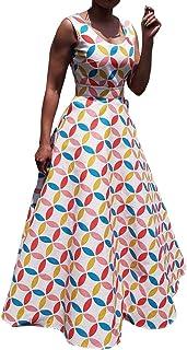 VERWIN Sleeveless Floor-Length Print Pullover Geometric Color Block Women's Maxi Dress