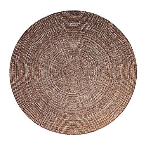 Haus und Deko Bast Platzset rund ca. 40 cm Ø Kunststoff Tischset Untersetzer waschbar Bronze Braun meliert