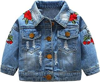 Qiran, Coats - Abrigo de manga larga con bordado de rosas a prueba de viento con agujero, estilo vaquero y con botones
