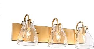 "KSANA 3-Light Modern Vanity Light Fixture, Gold Bathroom Lighting with Clear Glass Shades, 22"" L"