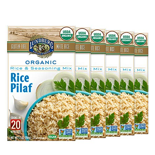Lundberg Organic White Rice Pilaf Entree, 5.5oz (6 Count), Gluten-Free, Vegan, USDA Certified Organic, Non-GMO Verified, Kosher; 20 Minute Cook Time