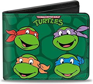 Buckle-Down Men's Wallet Classic Teenage Mutant Ninja Turtles Group Faces + Po Accessory, Multi, One Size