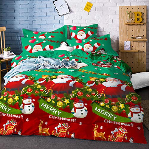 "Christmas Duvet Cover King Size Christmas Tree Bedding Snowman Santa Claus Duvet Cover with Zipper Closure New Year Holiday Bedding Cover 3 Piece Bed Set Quilt Cover (Green, King(90""x 104""))"