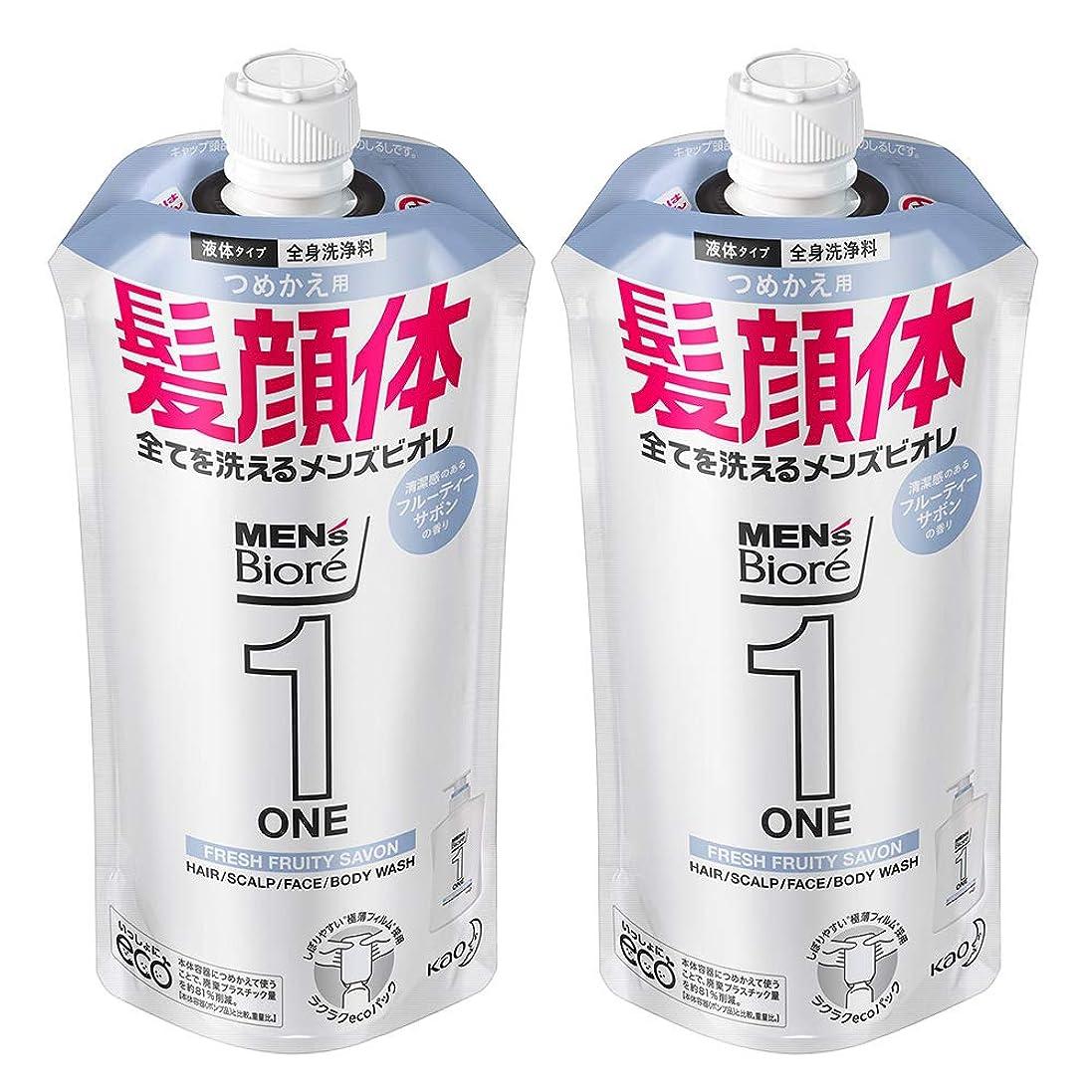 ポーズ計算出します【まとめ買い】メンズビオレ ONE オールインワン全身洗浄料 フルーティーサボンの香り つめかえ用 340ml×2個