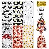 Toyvian 150 sacchetti in cellophane per Halloween, 6 modelli di Halloween, dolcetti o salse, sacchetti trasparenti per caramelle con rotazione, cravatte per feste