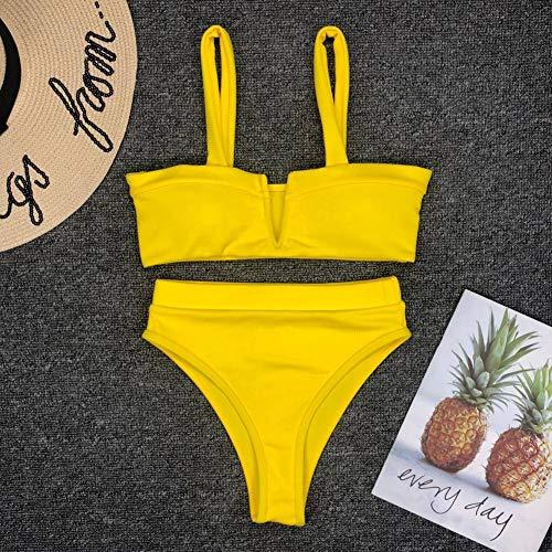 TTKMBN Bikini Traje de baño Acanalado de Cintura Alta Las Mujeres Empuja hacia Arriba Traje de baño Rosa Amarillo Negro de Pierna Alta Traje de baño Traje de baño de Las Mujeres