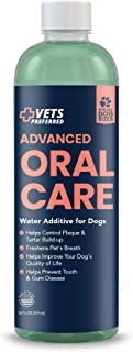 Vets Preferred Dog Breath Freshener Water Additive - Fights Bad Breath, Removes Plaque and Tartar, Prevents Gum Disease - ...