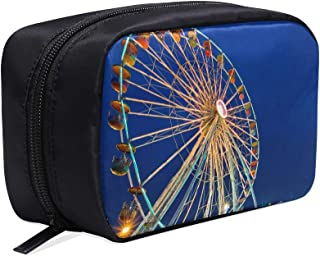 At Night Beautiful Ferris Wheel Portable Travel Makeup Cosmetic Bags Organizer Multifunction Case Small Toiletry Bags For Women And Men Brushes Case