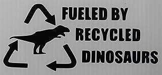 'Fueled by Recycled Dinosaurs' Aufkleber Autoaufkleber Sticker Auto`+ Bonus Testaufkleber 'Estrellina Glückstern' ®, gedruckte Montageanleitung von 'myrockshirt', waschanlagenfest,
