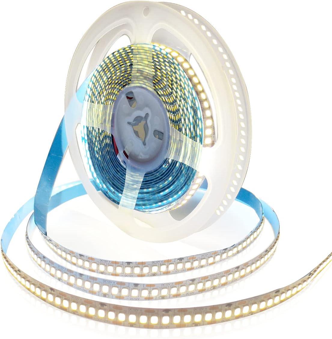 Tesfish Tiras de luz LED 12V, Blanco Natural 4000K 5M Tiras LED 2835 IP20 240 LEDs/M 1200 LEDs en Total Súper Brillante Tiras de Luces LED para Dormitorio, Decoración de Cocina
