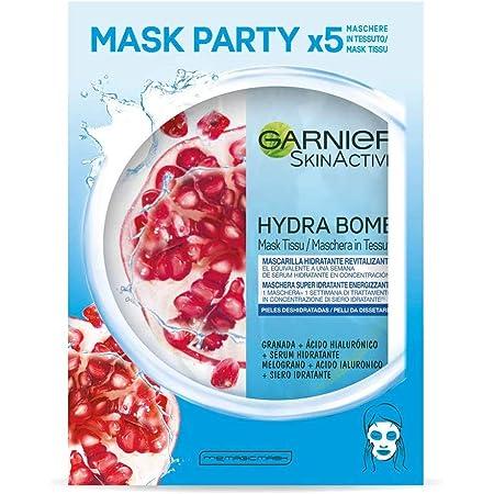 Garnier Skin Active Hydra Bomb, Tissu Mask Revitalizante, Mascarilla facial de Tejido con Granada y Ácido Hialurónico para Pieles Deshidratadas, Reduce Arrugas y Potencia la Luminosidad, 5 Unidades