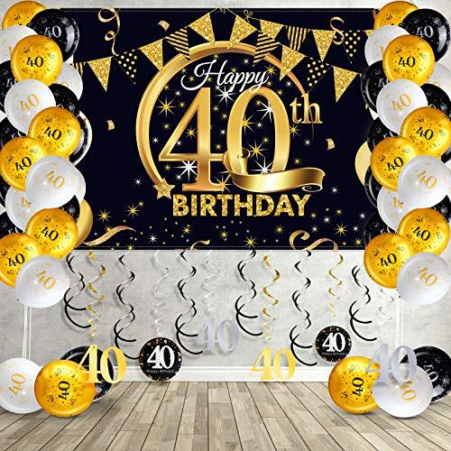 40. Geburtstag Party Dekorationen Kit, Schwarz und Gold Glittery Happy 40th Birthday Hintergrund Banner Hängende Strudel Ballon für 40. Geburtstag Party Dekorationen