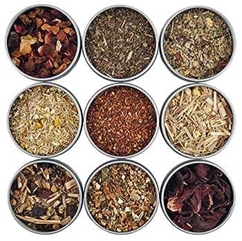 Heavenly Tea Leaves Herbal Tea Sampler 9 Naturally Caffeine-Free Loose Leaf Herbal Teas  Approx 90 Servings