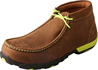 Twisted X Men's Steel Toe Leather Driving Moc, Distressed Saddle/Neon Yellow