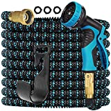 Gardguard 50ft Expandable Garden Hose Water Hose with 9 Function Nozzle and Durable 3-Layers Latex, Water Hose with Solid Fittings