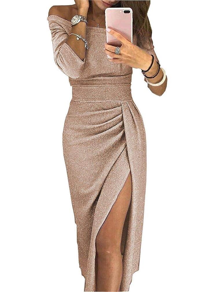 差し引くどっちでも弾丸Maxcrestas - 夏の女性のドレスはネックパッケージヒップスプリットセクシーなスパンコールのドレスレディース包帯パーティーナイトクラブミッドカーフ服装スラッシュ