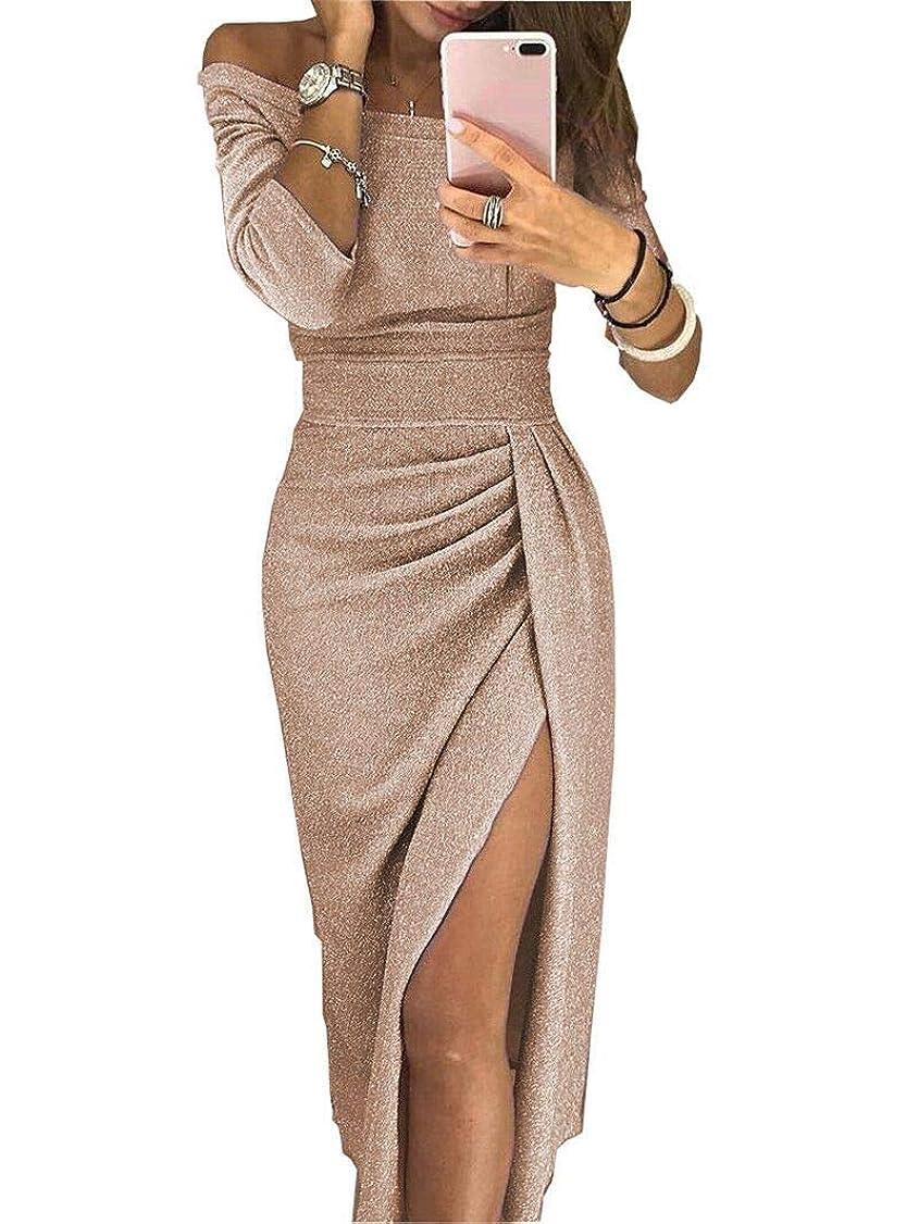 ラケットペレグリネーション堤防Maxcrestas - 夏の女性のドレスはネックパッケージヒップスプリットセクシーなスパンコールのドレスレディース包帯パーティーナイトクラブミッドカーフ服装スラッシュ