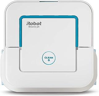 iRobot Braava Jet 250: Robot fregasuelos con pulverizador a presi?n 3en1-fregado a Fondo, Suave y mopa cocinas y ba?os pa?os Lavables y Desechables Cabezal de Limpieza vibratorio, Blanco