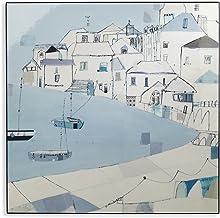 لوحة فنية على شكل صندوق لوكر من أرثو، باللون الأزرق على الجانب لتزيين المنزل على الشاطئ